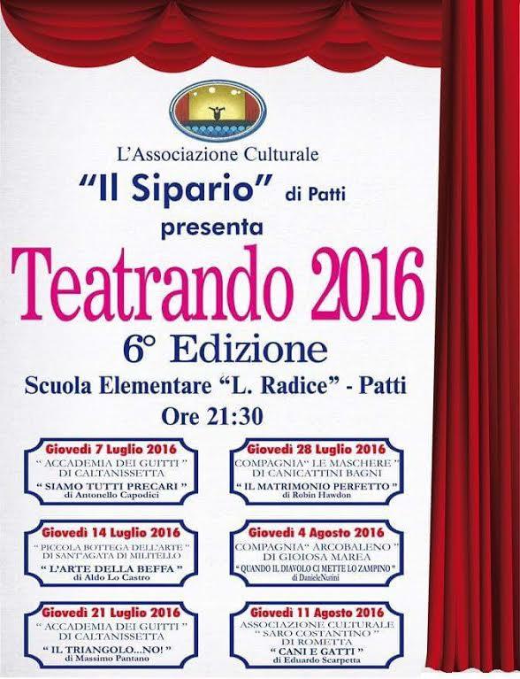 Patti: organizzata dall'Associazione Il Sipario positivo bilancio a conclusione della rassegna Teatrando 2016